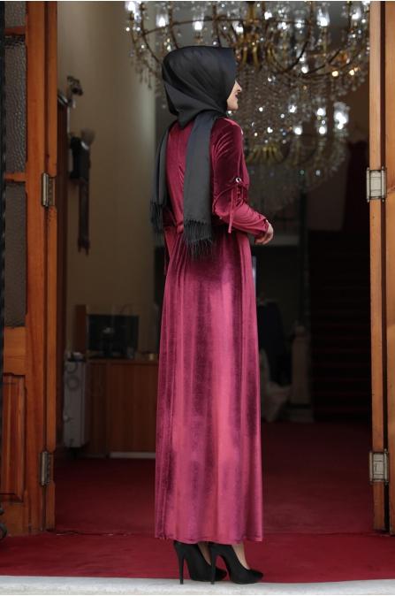 Buse Kadife Tesettür Elbise - Bordo