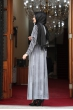 Buse Kadife Tesettür Elbise - Gri