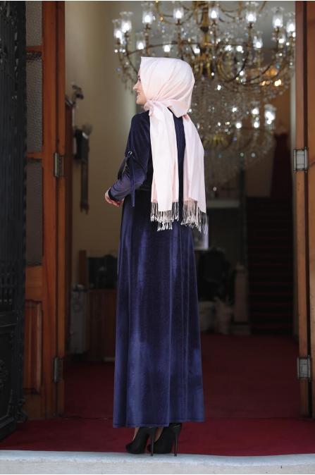 Buse Kadife Tesettür Elbise - Lacivert