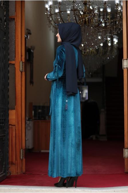 Buse Kadife Tesettür Elbise - Petrol