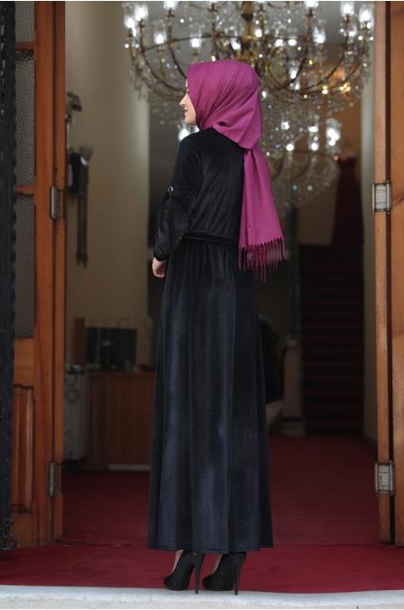 Buse Kadife Tesettür Elbise - Siyah