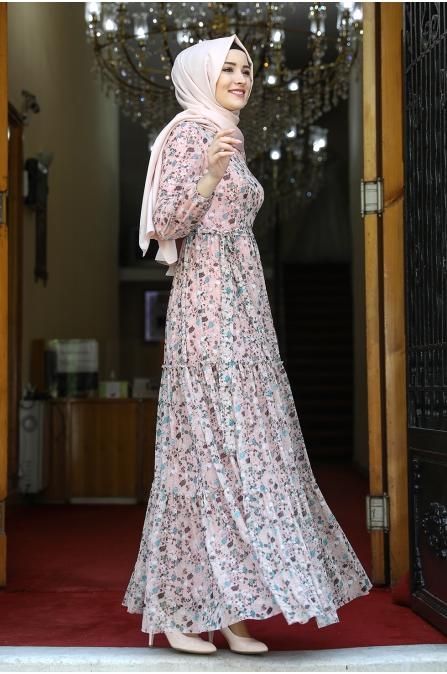 Çiçek Desenli Tesettür Elbise - Pudra