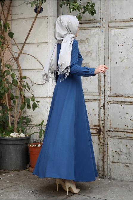 Damla Tesettür Elbise - İndigo - Amine Hüma