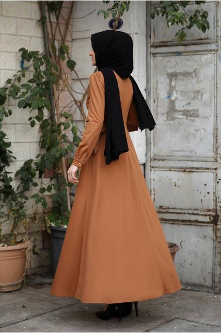 Damla Tesettür Elbise - Taba - Amine Hüma