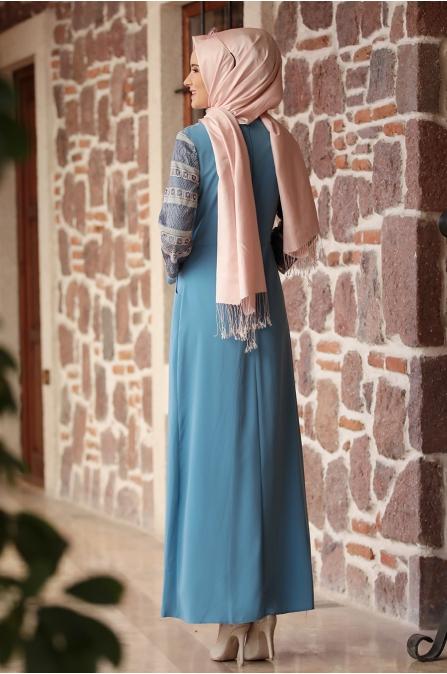 Amine Hüma - Gökkuşağı Elbise - Bebe Mavisi