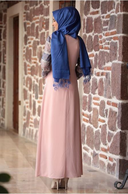 Amine Hüma - Gökkuşağı Elbise - Pudra
