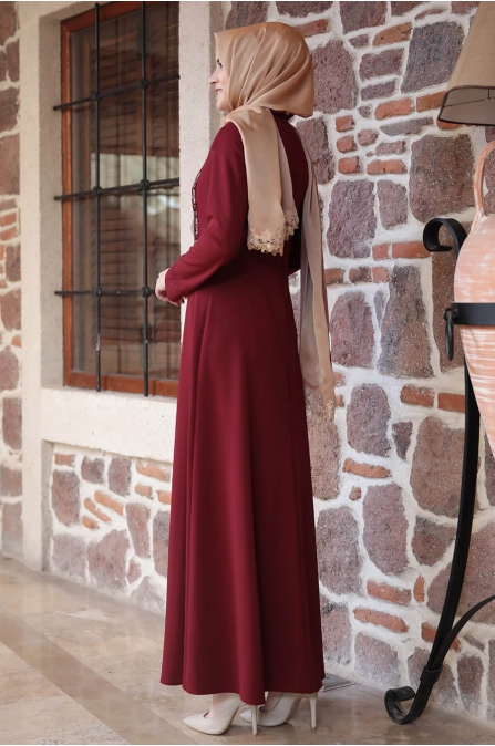 Amine Hüma - Gülzade Elbise - Bordo