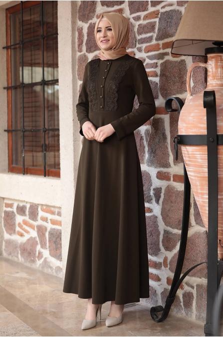 Amine Hüma - Gülzade Elbise - Haki