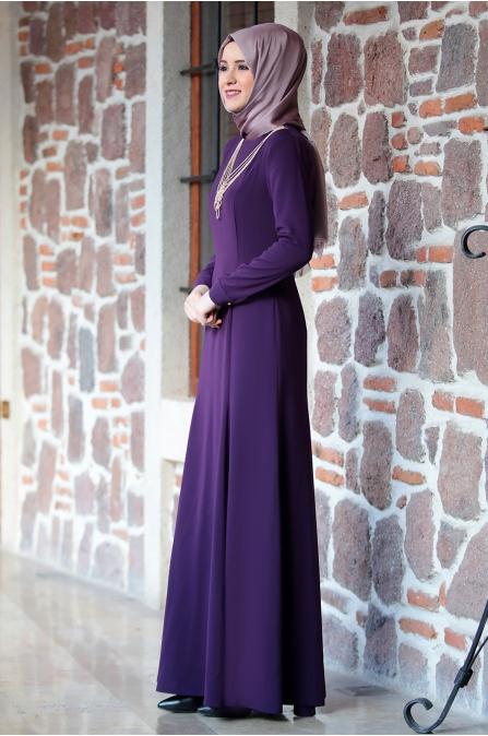 Kolyeli Elbise Mor - Amine Hüma