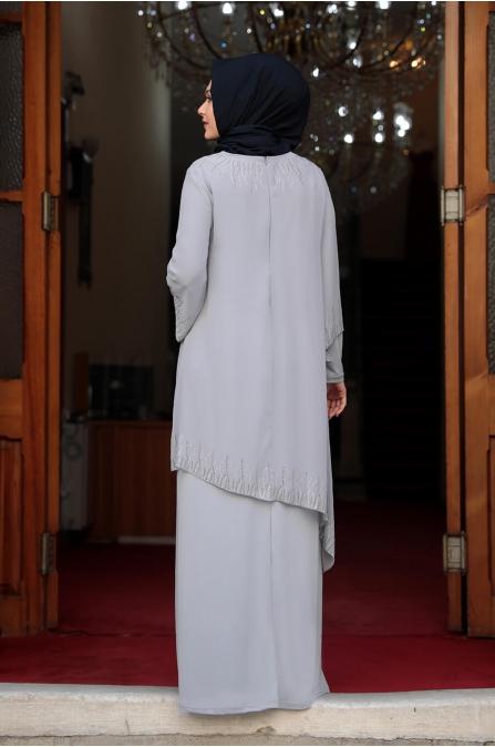 Kübra Tesettür Elbise - Gri