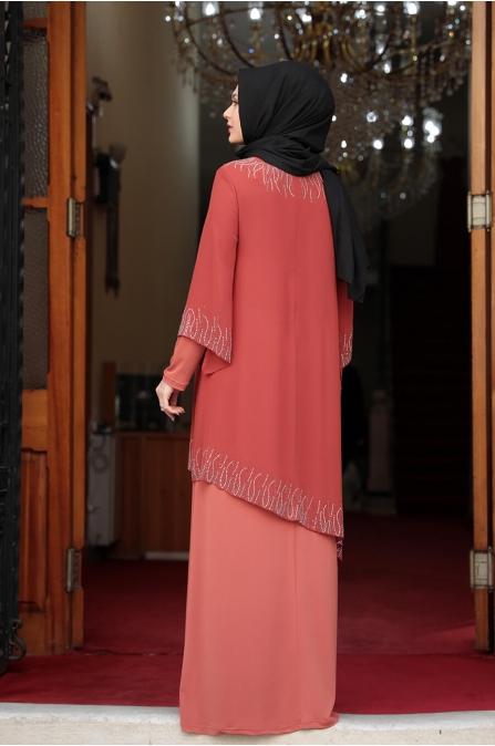 Kübra Tesettür Elbise - Kiremit