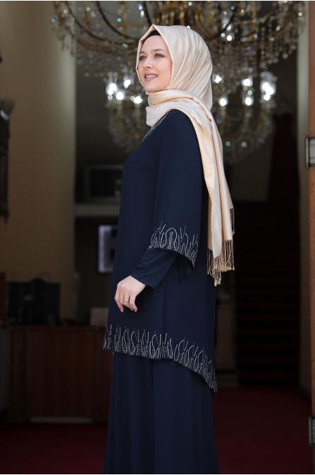 Kübra Tesettür Elbise - Lacivert