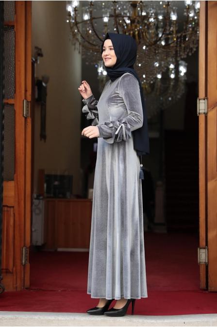 Lara Kadife Tesettür Elbise - Gri