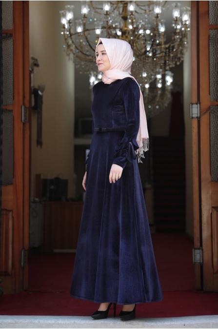Lara Kadife Tesettür Elbise - Lacivert