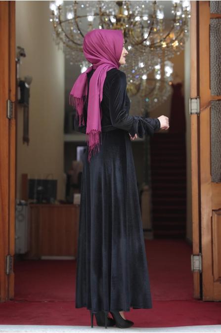 Lara Kadife Tesettür Elbise - Siyah