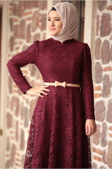 Amine Hüma - Melek Elbise - Bordo