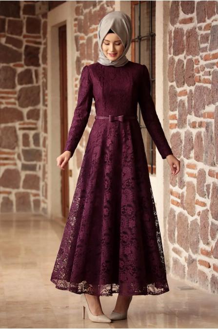 Amine Hüma - Melek Elbise - Mor
