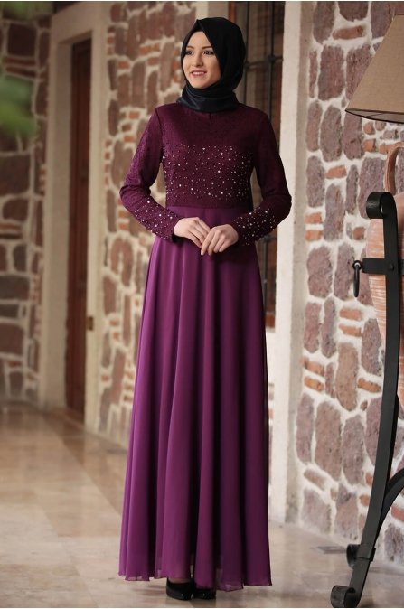 Amine Hüma - Miray Elbise - Mor