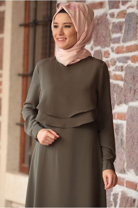 Amine Hüma - Nisa Elbise - Haki