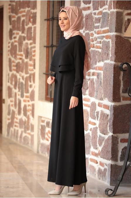 Amine Hüma - Nisa Elbise - Siyah