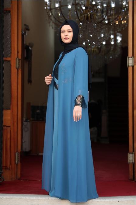 Önü Pul Payet Tesettür Elbise - Bebe Mavisi