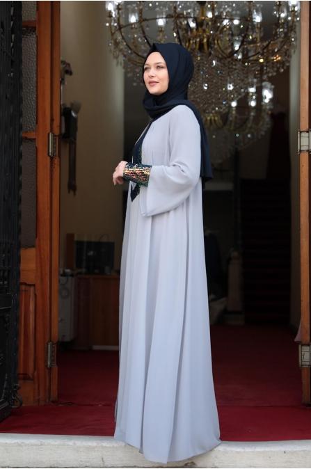 Önü Pul Payet Tesettür Elbise - Gri