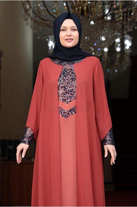 Önü Pul Payet Tesettür Elbise - Kiremit