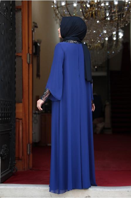 Önü Pul Payet Tesettür Elbise - Mavi
