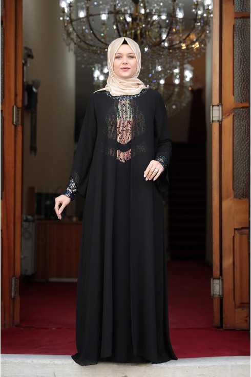 Önü Pul Payet Tesettür Elbise - Siyah