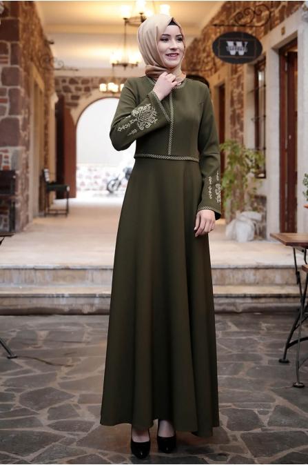 Amine Hüma - Otantik Elbise - Haki