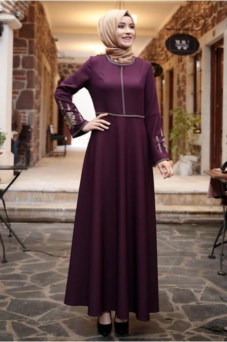 Amine Hüma - Otantik Elbise - Mor
