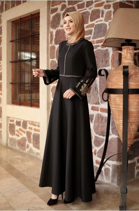 Amine Hüma - Otantik Elbise - Siyah