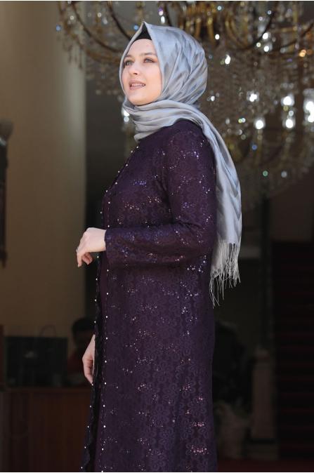 Papatya Tesettür Elbise - Mor