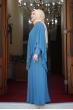 Pelerinli Taşlı Tesettür Elbise - Bebe Mavisi