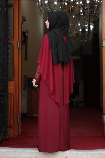 Pelerinli Taşlı Tesettür Elbise - Bordo