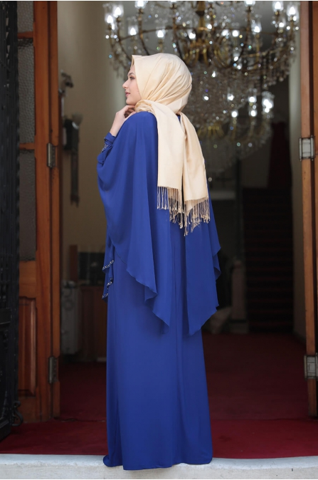 Pelerinli Taşlı Tesettür Elbise - İndigo