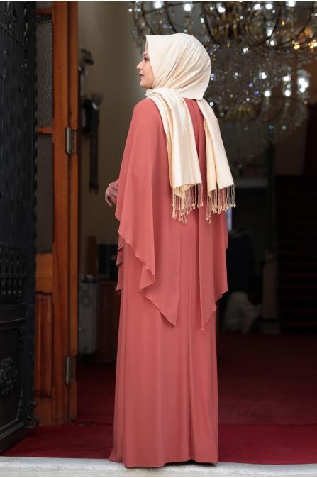 Pelerinli Taşlı Tesettür Elbise - Kiremit