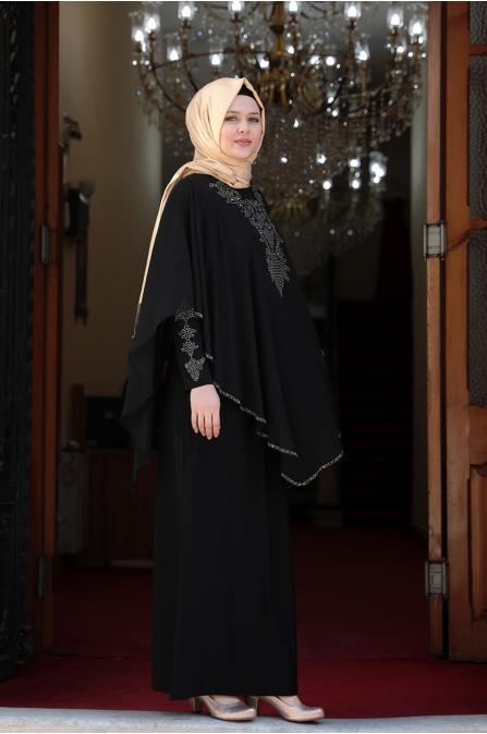 Pelerinli Taşlı Tesettür Elbise - Siyah