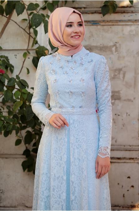 Selen Dantel Elbise - Bebe Mavisi - Amine Hüma