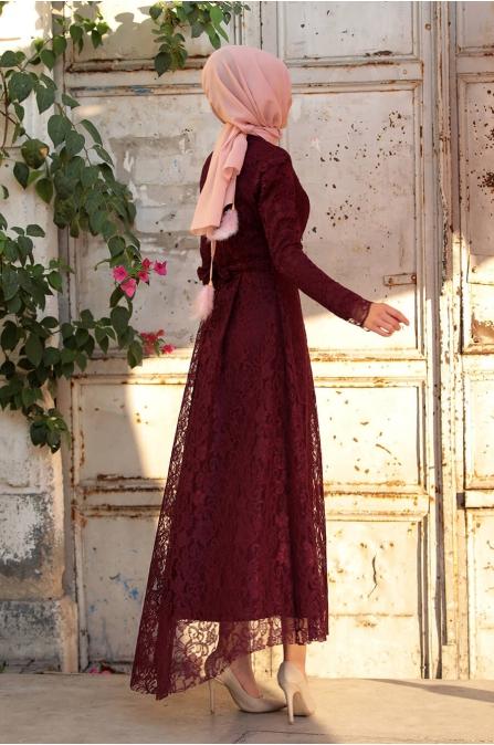 Selen Dantel Elbise - Bordo - Amine Hüma