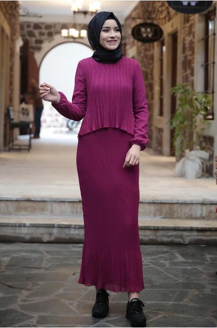 Şifon Piliseli Elbise - Fuşya - Amine Hüma