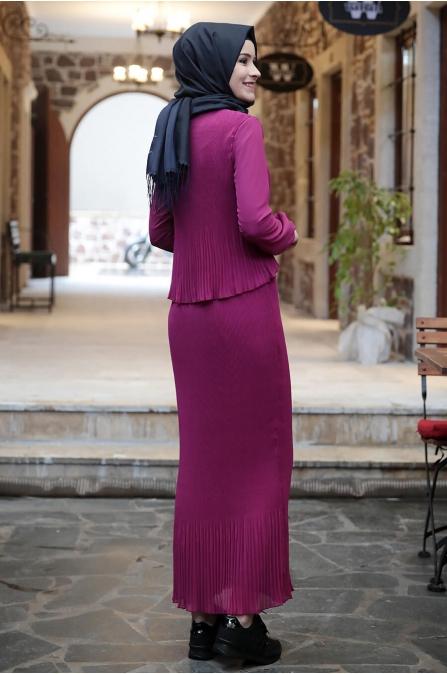 Şifon Piliseli Elbise - Fuşya- Amine Hüma