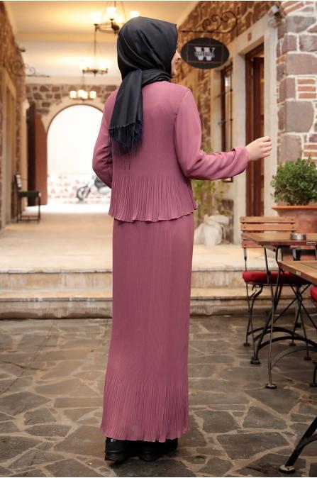 Şifon Piliseli Elbise - Gül Kurusu - Amine Hüma