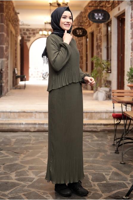Şifon Piliseli Elbise - Haki - Amine Hüma