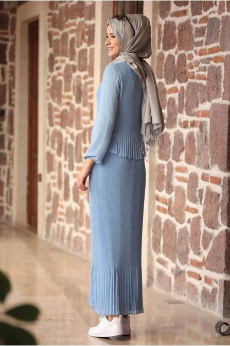 Şifon Piliseli Elbise - Mavi - Amine Hüma