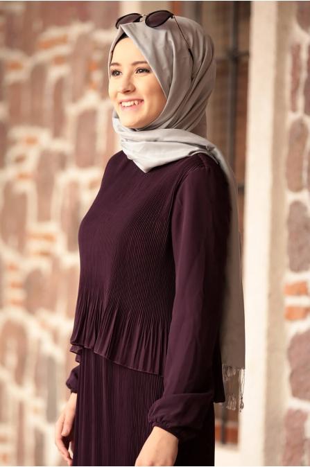 Şifon Piliseli Elbise - Mor - Amine Hüma