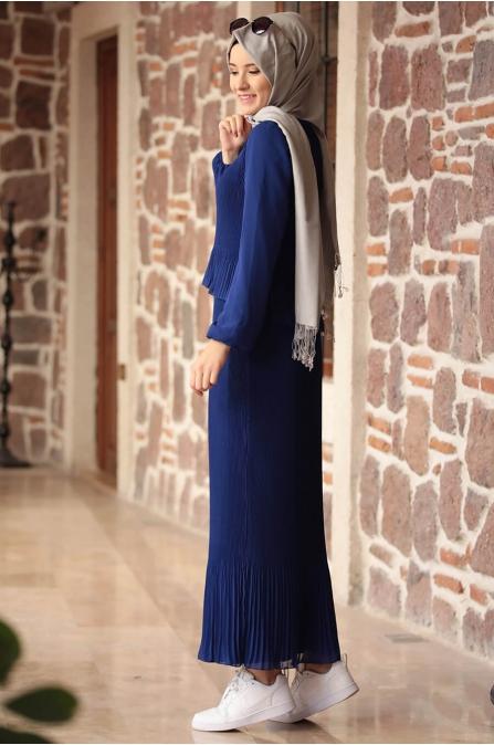 Şifon Piliseli Elbise - Saks - Amine Hüma