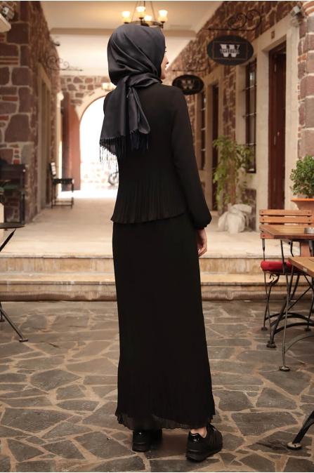 Şifon Piliseli Elbise - Siyah - Amine Hüma
