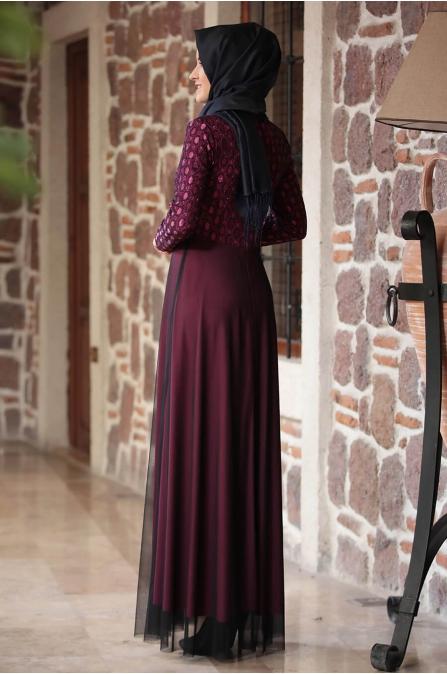 Simli Elbise - Mürdüm - Amine Hüma