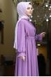 Şura Büzgülü Tesettür Elbise - Lila
